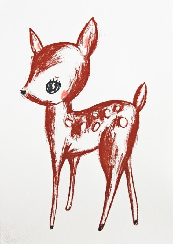 Hertje Illustratie DEER FROM THE FOREST zeefdruk in oplage - A4 formaat