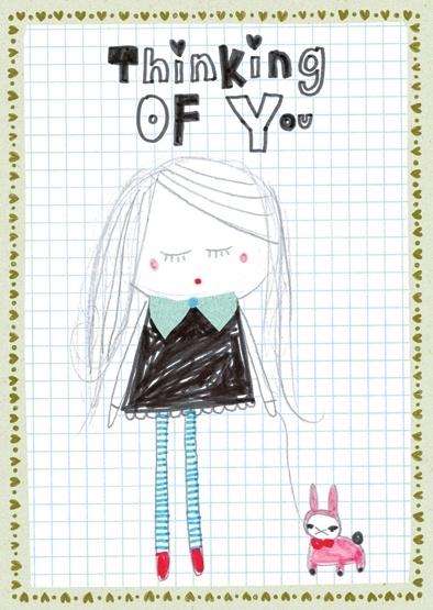 Meisje Illustratie THINKING OF YOU postkaart