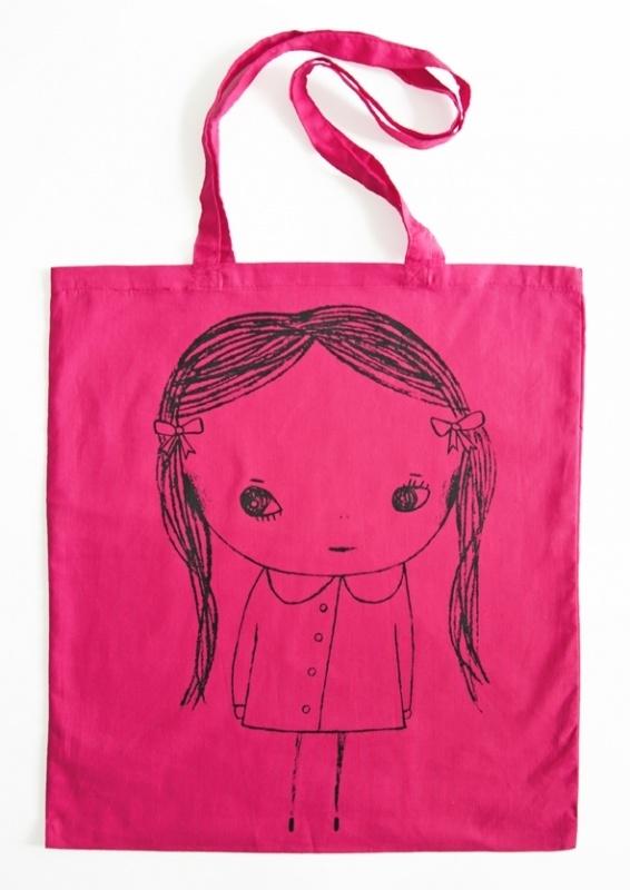 Meisje Illustratie KACY katoenen shopper tas - PINK