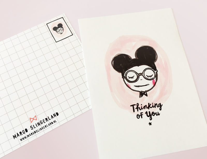 Muis Illustratie THINKING OF YOU MOUSE  postkaart