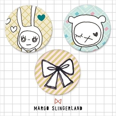 RABBIT AND BEAR set van 3 geïllustreerde buttons