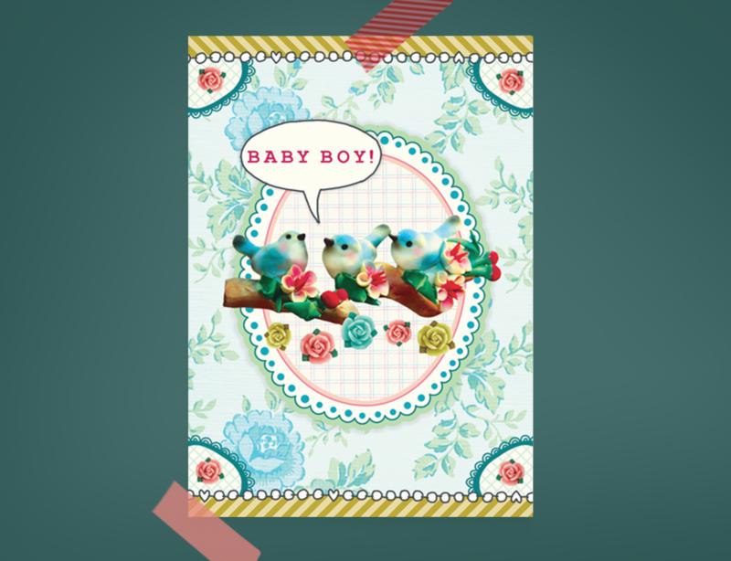 BABY BOY BIRDS jongetje geboorte postkaart
