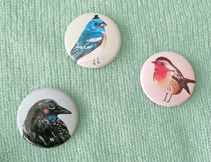 Vogel Buttons BIRDIES set van 3