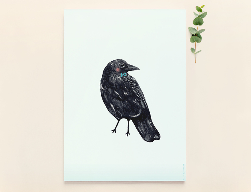 Kraai Vogel Illustratie CROW BIRDIE kunst poster - A4 formaat