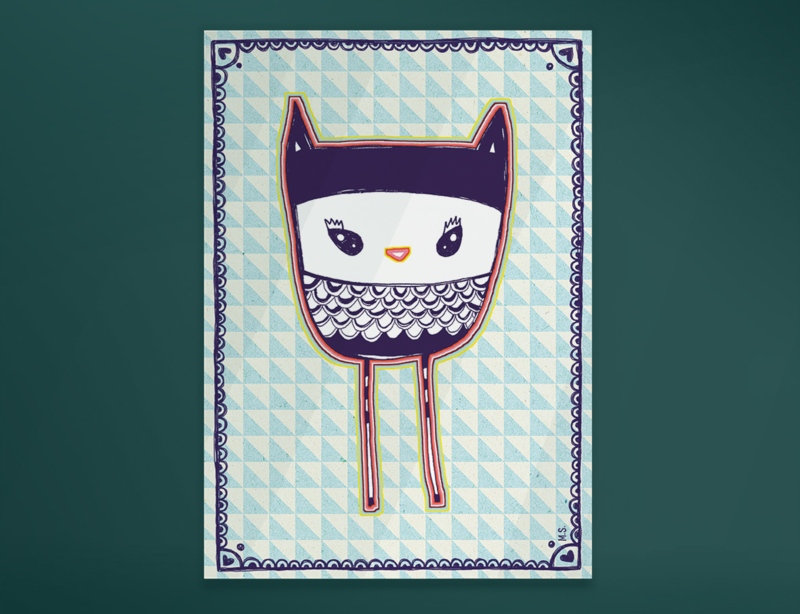 Uil Illustratie BLUE OWL kinderkamer poster - A4 formaat