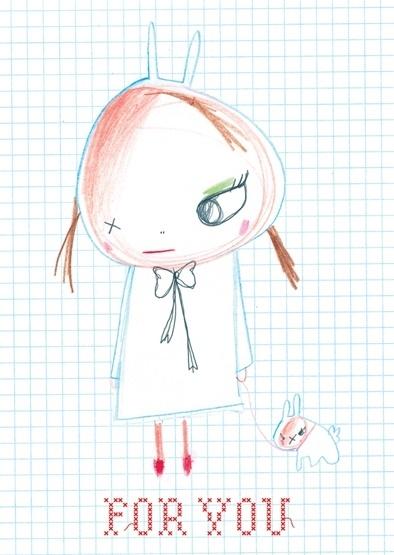 Konijnen Meisje Illustratie FOR YOU postkaart