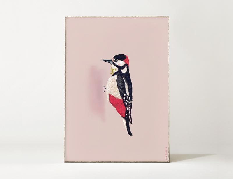 Specht Vogel Illustratie WOODPECKER BIRDIE kunst poster - A4 formaat