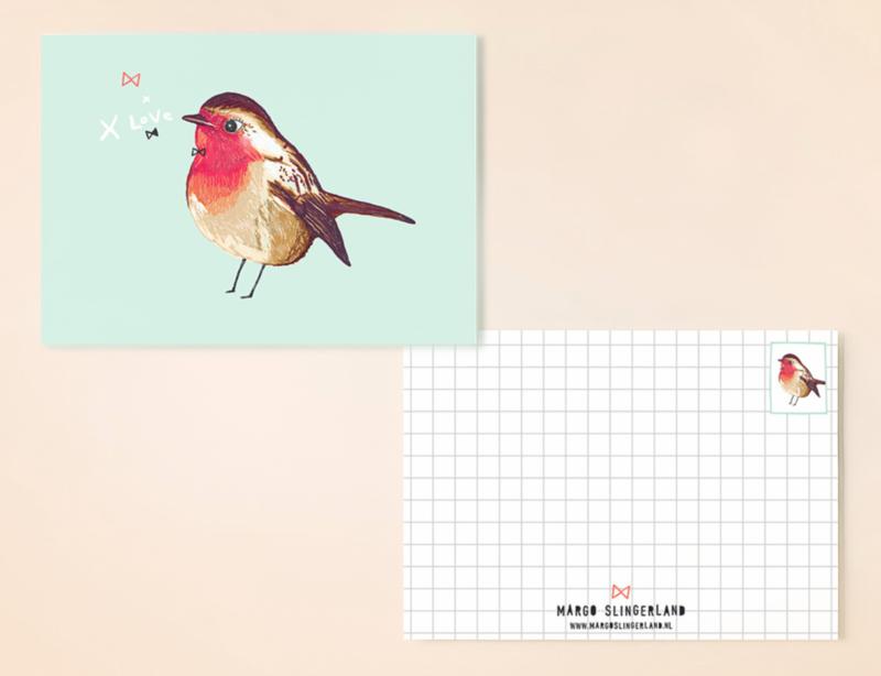 Roodborstje Illustratie BIRDIE ROBIN vogel postkaart