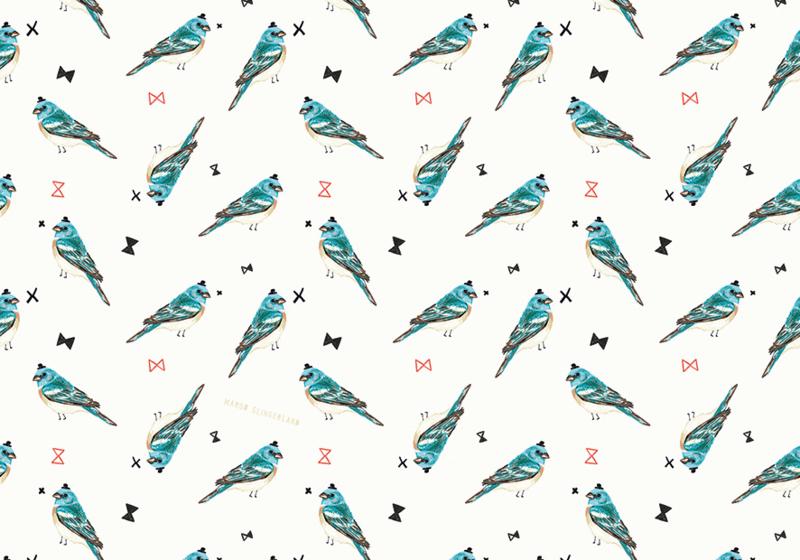 BLUE BIRDS blauw vogel dessin cadeaupapier