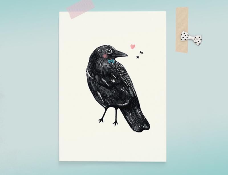 Kraai Illustratie CROW BIRDIE vogel postkaart