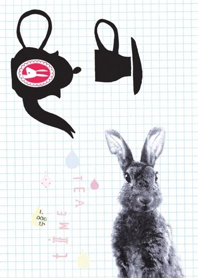 Zwart Wit Konijn Illustratie TEA TIME postkaart