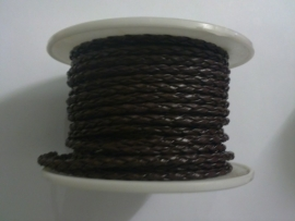 gevlochten leerkoord bruin 3 mm