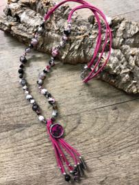 """"""" sweet7"""" lange roze halsketting met natuursteen kralen"""