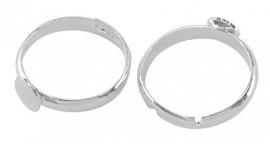 verstelbare ring diameter bovenstuk 6 mm zilverkleur