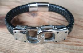 """lederen armband met magneetsluiting """"boeien"""""""