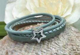 licht groen kleurige leren wikkel armband