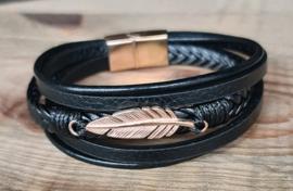 "lederen armband met magneetsluiting ""veer"""