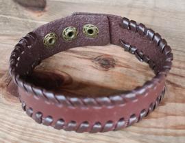 lederen armband met druk knop sluiting bruin