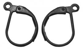lever vorm oorringen zwart 15x10 mm (per paar)