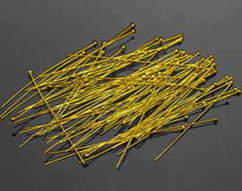 nietstift met bolletje goudkleur 60 mm 0,7 mm dik