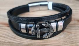 lederen armband met magneetsluiting en schuifkralen