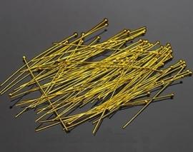 nietstift met bolletje goudkleur 50 mm 0,6mm dik