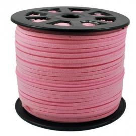 suede veter Pink 3 mm van rol