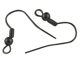 oorhaken zwart 20mm (per paar)