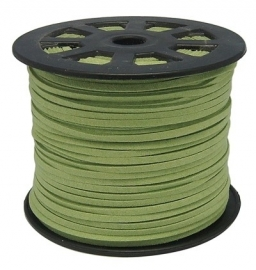 suede veter LightGreen 3 mm van rol