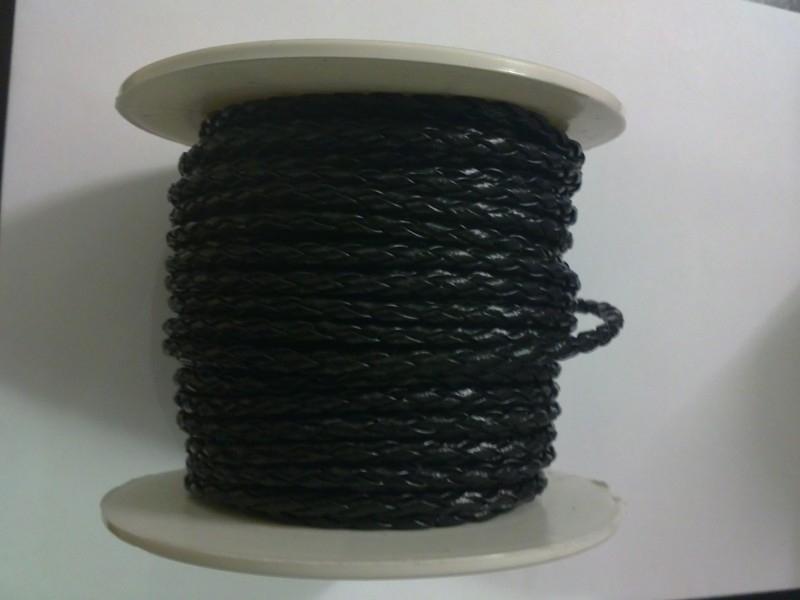 geflochten lederband 3 mm schwarz