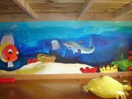 Muurschildering in het Boathûs, te Boornzwaag