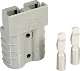 Anderson SB50 connector grijs met contacten voor AWG12-10 ~6mm²