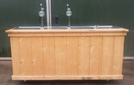 Luxe verrijdbare houten biertap 2 kraans incl. spoelbak (met afname van bier)