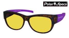 Polar Specs® Overzet Nachtbril PS5097 – Mat Havana/Purple – Polarized Nightdriving – Medium – Women