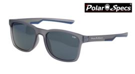 Polar Specs® Polariserende Zonnebril Wayfarer Sport PS9016 – Mat Grijs/Blauw – Polariserend Zwart – Medium/Large