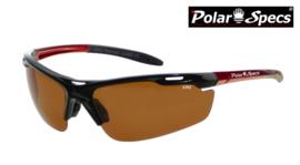 Polar Specs® Polariserende Zonnebril Velocity Sport PS9041 – Metallic Red Frame – Polarized Brown – Medium – Unisex