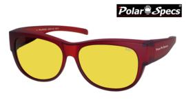Polar Specs® Overzet Nachtbril PS5097 – Mat Burgundy Red Satin  – Polarized Nightdriving – Medium – Unisex