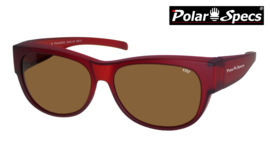 Polar Specs® Overzet Zonnebril PS5097 – Mat Burgundy Red Satin  – Polarized Brown – Medium – Unisex