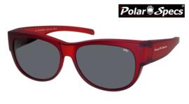 Polar Specs® Overzet Zonnebril PS5097 – Mat Burgundy Red Satin  – Polarized Black – Medium – Unisex