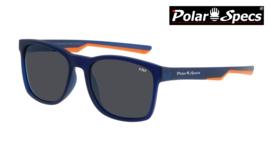 Polar Specs® Polariserende Zonnebril Wayfarer Sport PS9016 – Mat Blauw/Oranje – Polariserend Zwart – Medium/Large