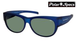 Polar Specs® Overzet Zonnebril PS5097 – Mat Navy Blue Satin  – Polarized Green – Medium – Unisex