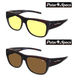 Combinatievoordeel Polar Specs® Overzet Nachtbril + Overzet Zonnebril PS5096 – Tortoise Brown – Polarized – Large – Unisex