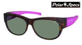 Polar Specs® Overzet Zonnebril PS5097 – Mat Havana/Pink – Polarized Green – Medium – Women