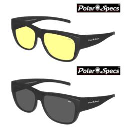 Combinatievoordeel Polar Specs® Overzet Nachtbril + Overzet Zonnebril PS5096 – Mat Black – Polarized – Large – Unisex