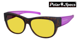 Polar Specs® Overzet Nachtbril PS5097 – Mat Havana/Pink – Polarized Nightdriving – Medium – Women