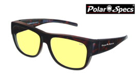 Polar Specs® Overzet Nachtbril PS5096 – Tortoise Brown – Polarized Nightdriving – Large – Unisex