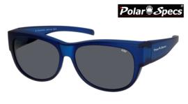 Polar Specs® Overzet Zonnebril PS5097 – Mat Navy Blue Satin  – Polarized Black – Medium – Unisex
