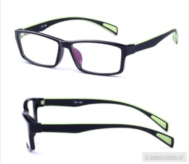 Beeldschermbril AR-Blue, Zwart/Groen montuur, diopter+0.12