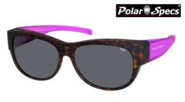 Polar Specs® Overzet Zonnebril PS5097 – Mat Havana/Pink – Polarized Black – Medium – Women