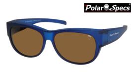 Polar Specs® Overzet Zonnebril PS5097 – Mat Navy Blue Satin  – Polarized Brown – Medium – Unisex